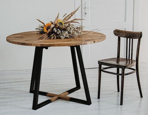 Round kitchen table Round dining table Modern industrial table Oak table  top Solid oak wood Steel base Black frame Metal base MÅNE BLACK