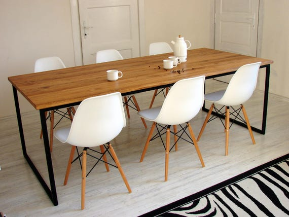 Industrial Dining Table Basic Nio Modern Steel Frame Table Metal And Solid Wood Kitchen Table Industrial Style Dining Room Tables