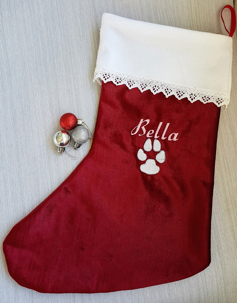 debcf0e0399 Personalised pet Christmas stocking embroidered paw print