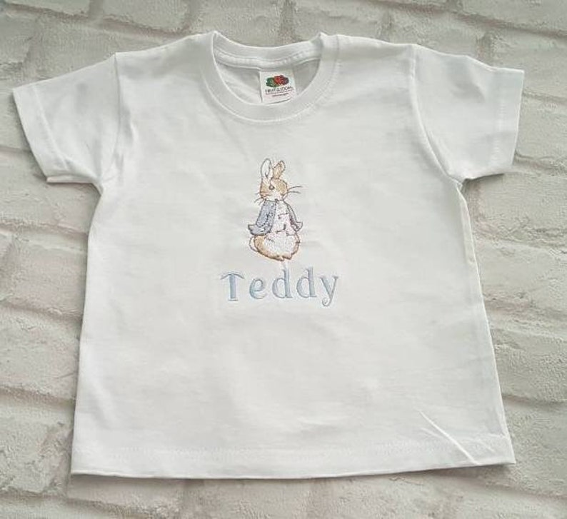 22695400c0fcf Peter Rabbit personalised embroidered t shirt- 3-8 years