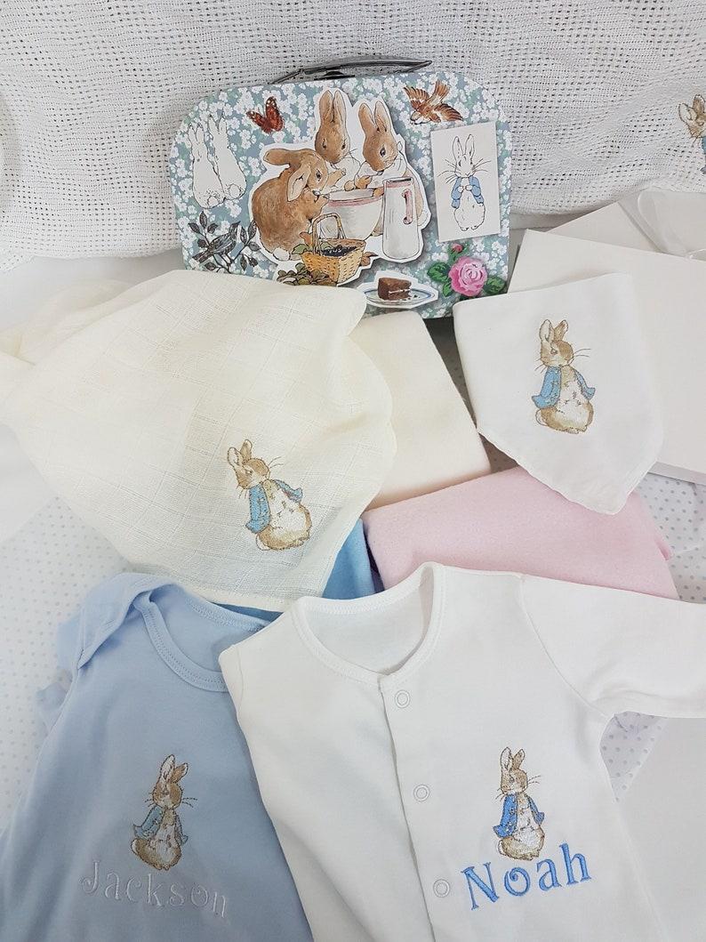 8fadba28a Peter rabbit personalised baby gift set blue mix   match