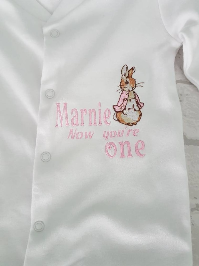 Peter rabbit personalised !st birthday//christmas// Easter embroidered sleep suit