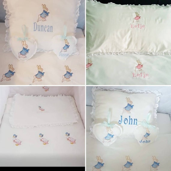 Peter rabbit cot//cot bed frilled pillow FREE personalisation