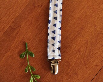 Binky Clip - Pacifier Clip - Blue Triangles - Toy Clip