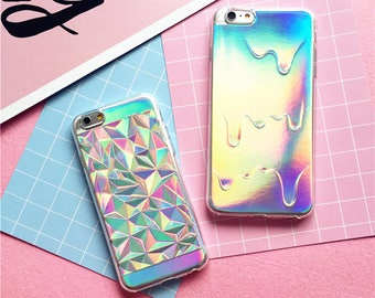 Luxury Bright Hologram Geometric Case Holographic Iridescent Card Rainbow Triangle Pastel Melting Soft Case iPhone 8 7 Plus 6 6S 5 5S SE