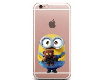 Cute Minions Cartoons Kevin Bob with Teddy Bear Kids Disney Stuart Silicone Clear Soft Case iPhone 7 Plus 7 6 Plus 6s 5 5s SE fundas