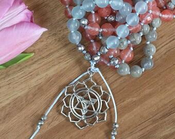 Aquamarine mala, healing necklace, yoga jewelry, Labradorite mala, hand knotted mala, yoga mala 108, mala beads 108, prayer beads