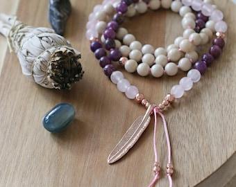 Rose quartz mala, pendant mala, rose gold necklace, hand knotted mala, mala beads 108, meditation, reiki mala, long necklace, prayer beads