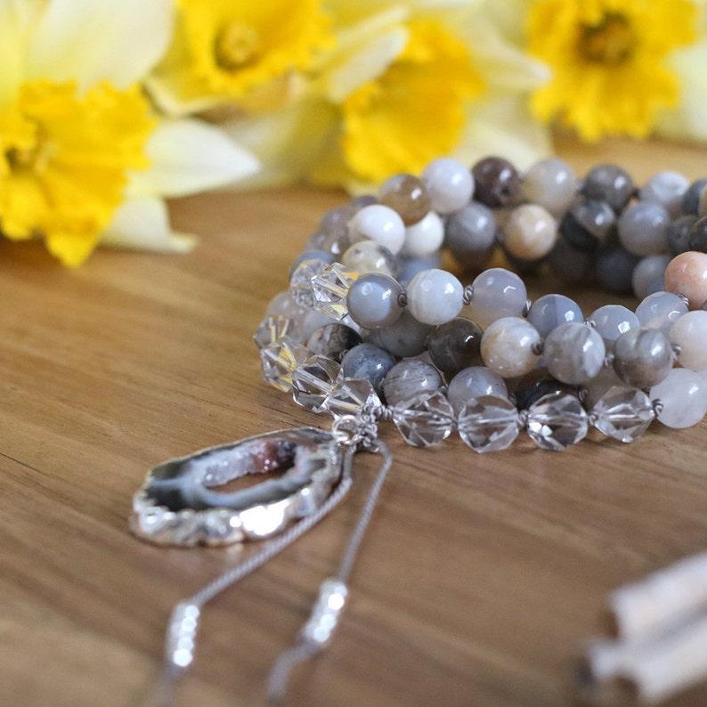 Rock Crystal necklace yoga gifts long beaded necklace Bamboo Leaf Jasper mala necklace meditation mala 108 mala beads prayer beads