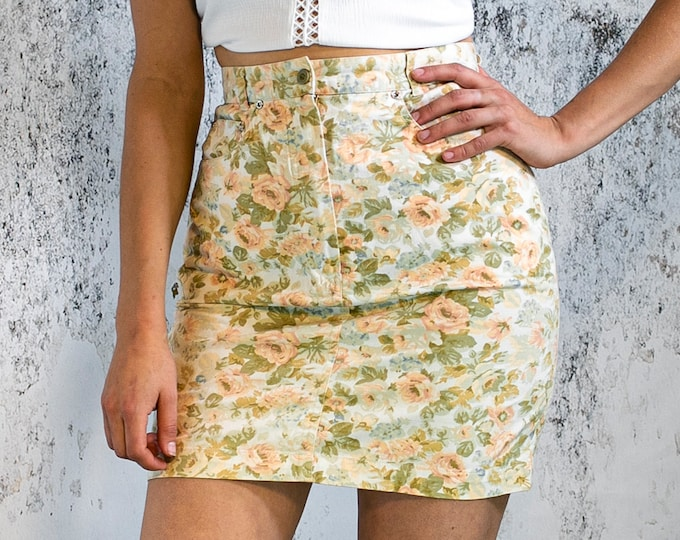 Featured listing image: Vintage floral skirt, denim pencil skirt