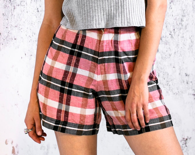 Featured listing image: Vintage shorts, pink checkered shorts