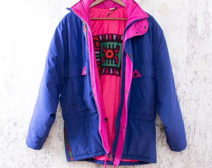 Featured listing image: Vintage Winter jacket, Colored Eighties Coat, K-Way Jacket