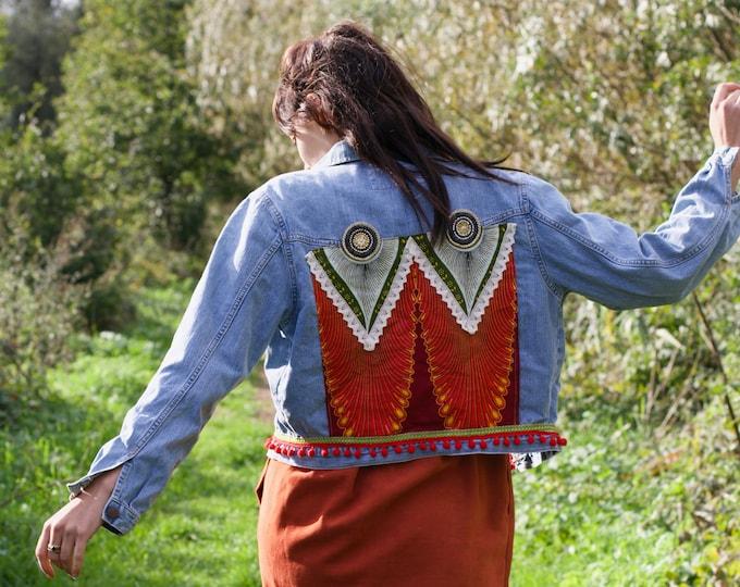 Featured listing image: Embellished Denim Jacket: Peacock