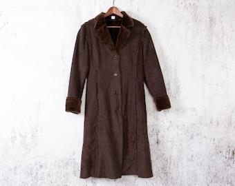Long Vegan Lammy Coat, Vintage Faux Leather Coat