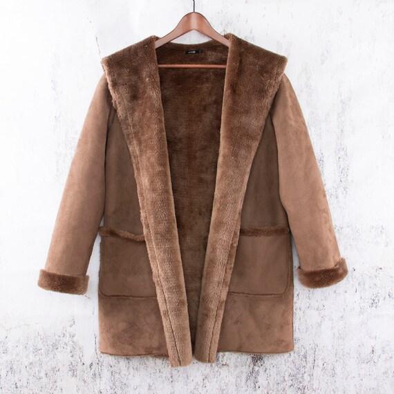 Faux Suede Coat, Vegan Lammy coat, Duffle coat - image 4