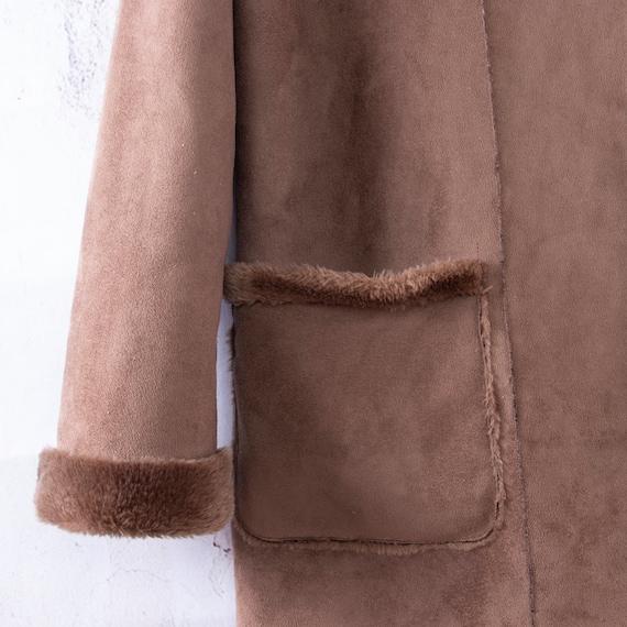 Faux Suede Coat, Vegan Lammy coat, Duffle coat - image 3