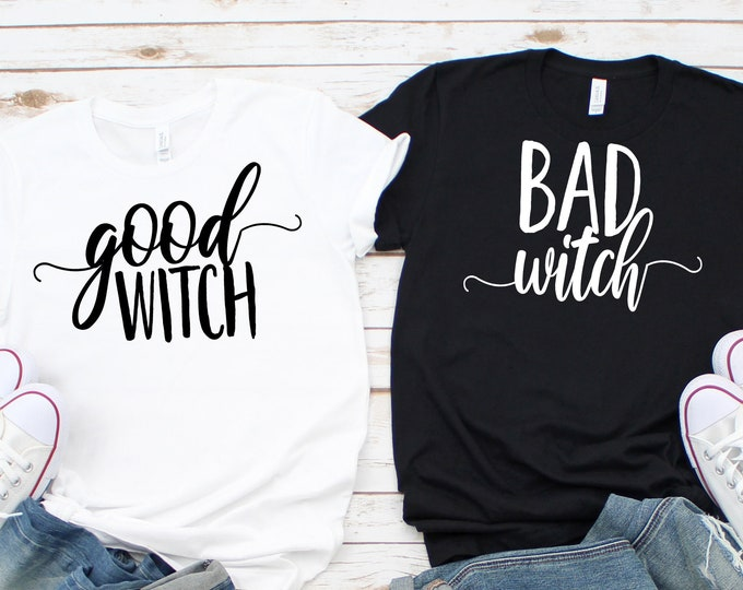 Featured listing image: Halloween witch shirt | Bad Witch T-shirt | Good Witch T-shirt | Matching Halloween Shirts | Women's Halloween Shirt | Plus Sizes available