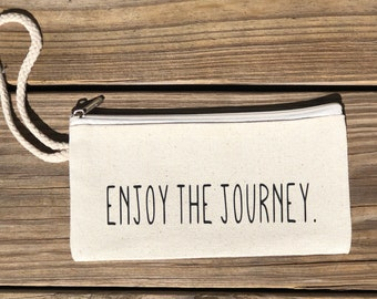 Enjoy the Journey writslet | Inspirational gift | Motivational Gift  | Gift for her | Boho Bag | Zippered Wristlet |  Canvas Wristlet | Bag