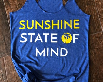 Sunshine State of Mind Tank. Sunshine Tank. Workout Tank. Beach Tank. Ladies Tank Top. Gifts for her. Gifts for Mom. Florida Tank.