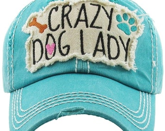 Crazy Dog Lady | More Colors Available | Ladies style baseball hat | Gift for Dog Mom | Beach Hat