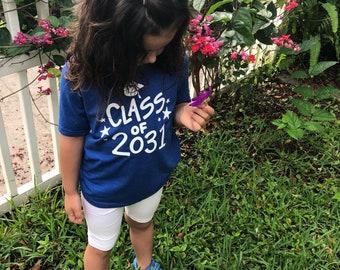 Kindergarten shirt. Class of 2031 shirt. Kindergarten Graduation shirt. Kids shirt. Gift for Kids. Gift for Kindergartner.