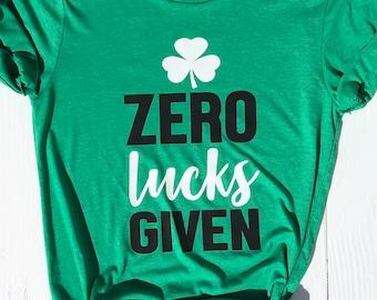 St. Patricks Day Shirt for Women | Zero Lucks Given | St Pattys Shirt | Funny St. Patrick's Day Shirt | Wild Liberty