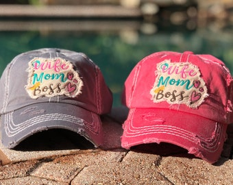 Wife Mom Boss | Beach Hat | Summer Hat | Vacation Hat | Distressed Ball Cap | Mom Hat | Wild Liberty