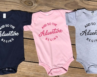The Adventure Begins baby one piece | Baby Shower gift | Gift for new Mom | Gift for baby | Baby bodysuit | Fun Baby gift