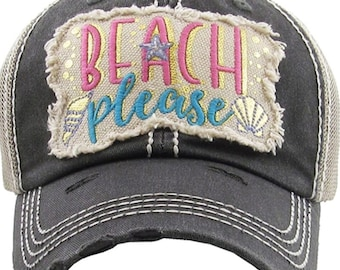 Beach Please hat | More Colors Available | Ladies style baseball hat | Workout Hat | Beach Hat |