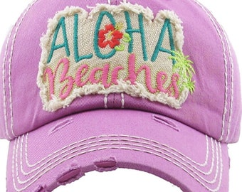 Aloha Beaches Hat | More Colors Available | Ladies style baseball hat | Workout Hat | Beach Hat | Vacation Hat | Cruise Hat