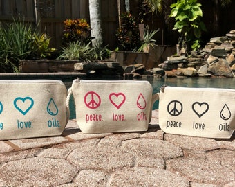 Peace Love Oils Wristlet | Essential Oil | Essential Oils Bag | EO Bag | Cosmetic Bag | BOHO bag | Essential Oil Case |  Gift for her