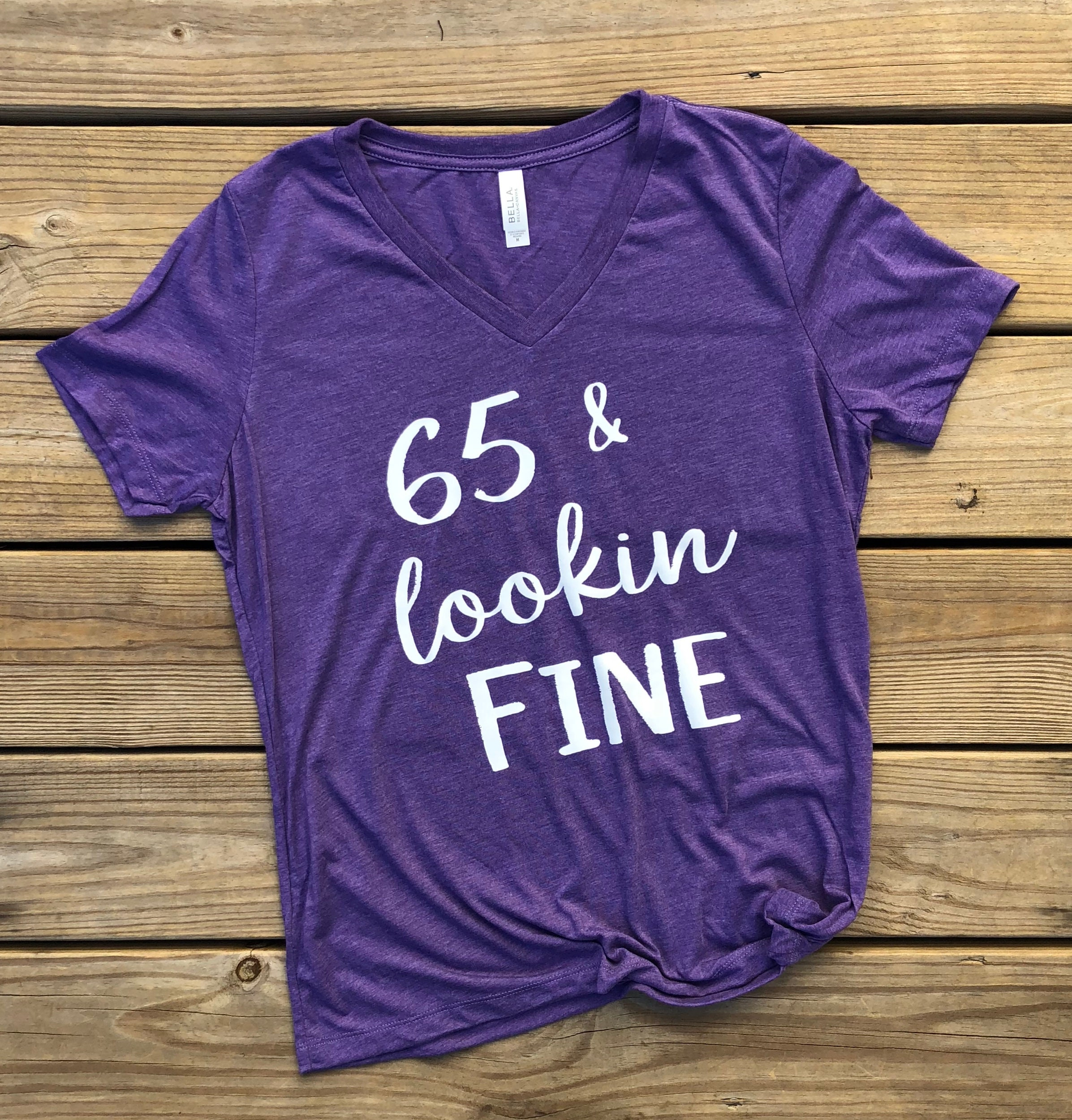 65 Year Old Birthday Gift Ladies VNeck For Mom Fun Shirt Funny Womens Her