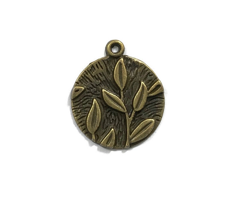 10 Antiqued Bronze  Round Leaf Charms 20mm