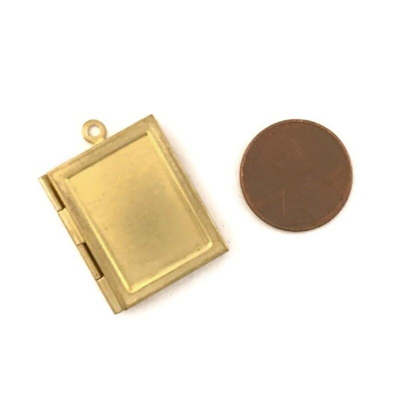 24 Raw Brass Book Lockets 25 x 20mm