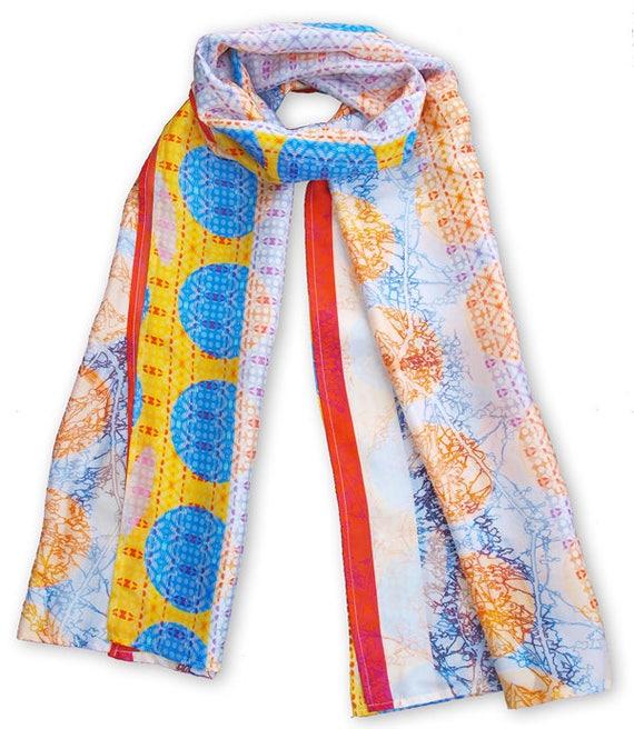 Blue and yellow Circle print scarf, Large Silk wra