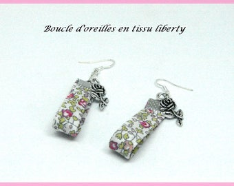 Fancy pendant earrings silver metallic daisy in liberty fabric in bloom pink green white