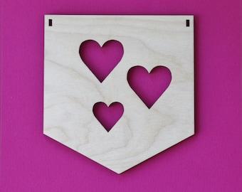 Flag Wood Three Hearts