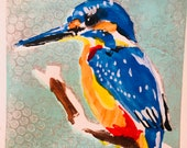 Kingfisher original mono print framed