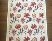 Flower print white cotton tea towel