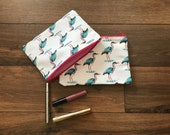 Heron print zip bag