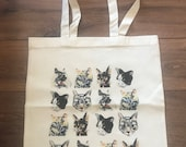 Cat print natural cotton tote bag