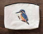 Kingfisher print zip pouch