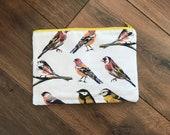 Garden bird print zip bag