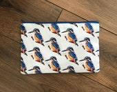 Kingfisher print zip bag