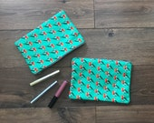Robin print zip bag