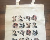 Dog print natural cotton tote bag