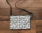 Cat print cross body bag