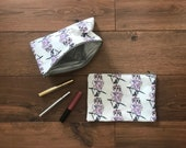 Snowy Owl print zip bag