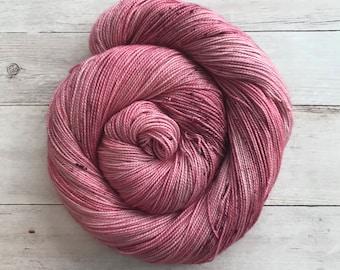 "Hand Dyed Tonal Yarn, ""Magic Mauve"", 80/20 Superwash Merino Silk Blend Sock Yarn"