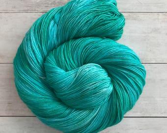 "Hand Dyed Tonal Yarn, ""Jaded Aqua"", 100% Extrafine Superwash Merino Sock Yarn"
